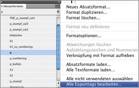 data2type GmbH: ePub für (In)Designer | Tags Formaten zuordnen