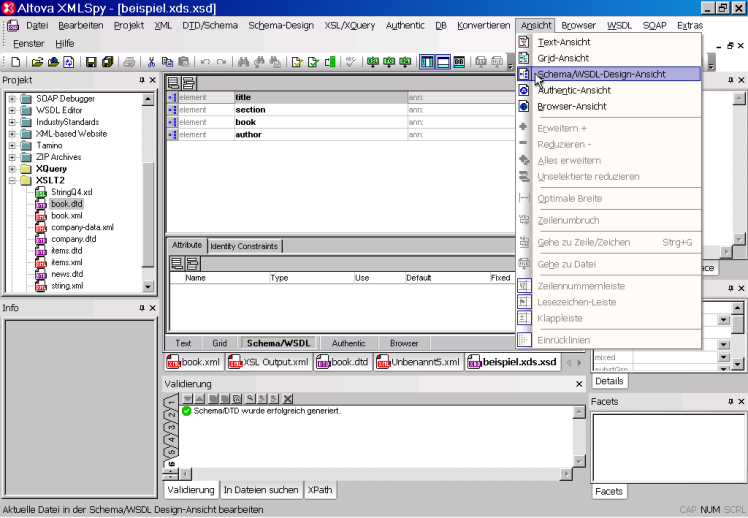 data2type GmbH: XSLT-Entwicklungsumgebungen | Altova XMLSpy 2008