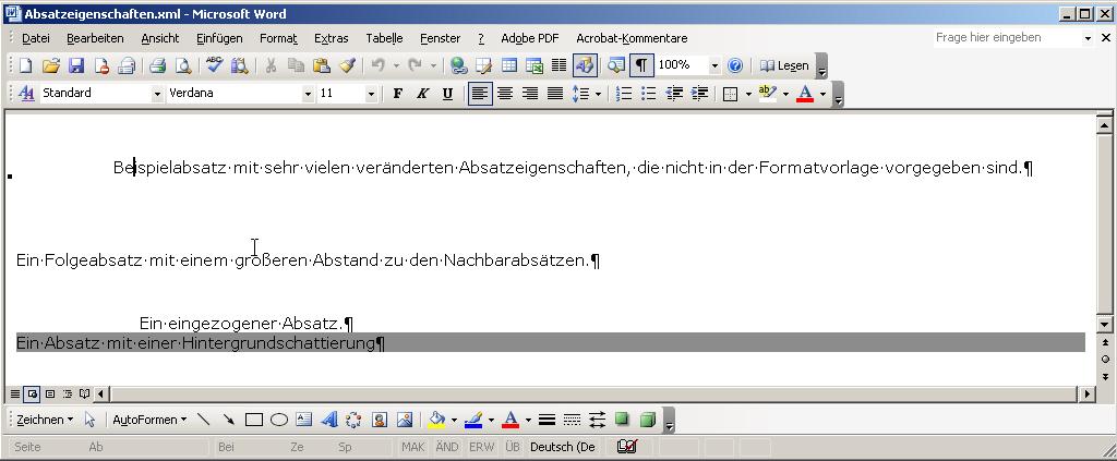 data2type GmbH: WordML | WordML-Einführung | Absätze