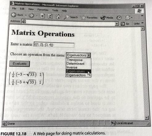 data2type GmbH: MathML | webMathematica | Matrix operation